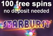 Play with 100 free spins on Starburst nodeposit